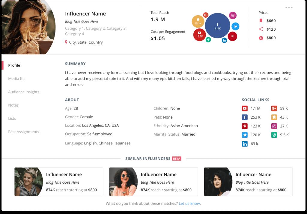 Influencer discovery tool