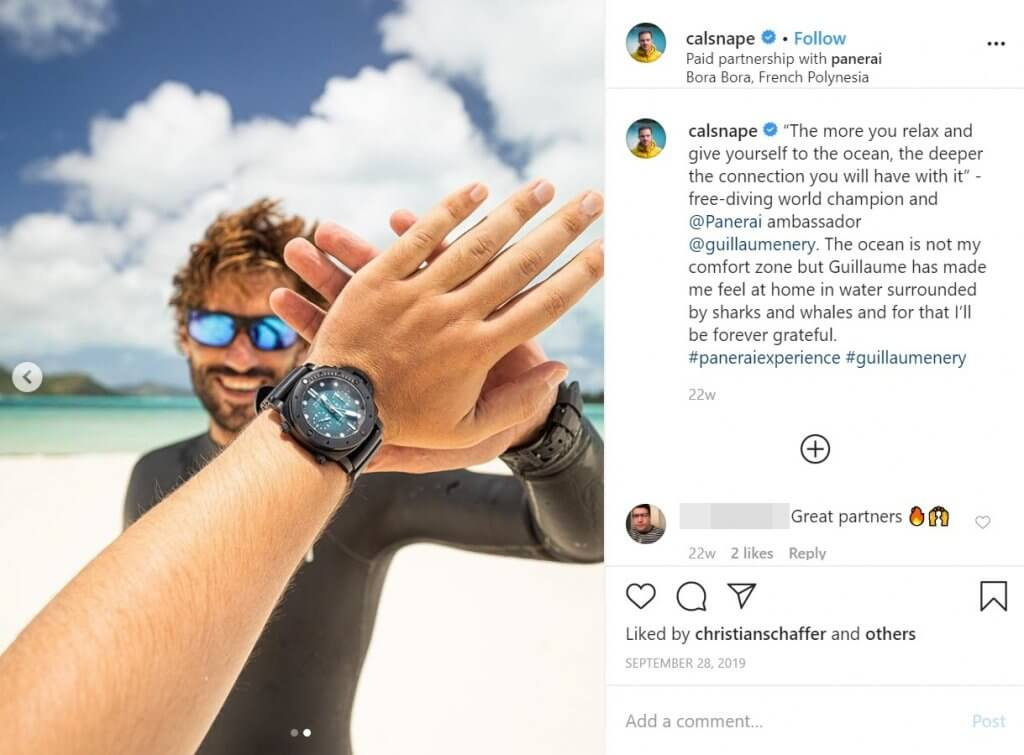 Influencer campaign on Instagram