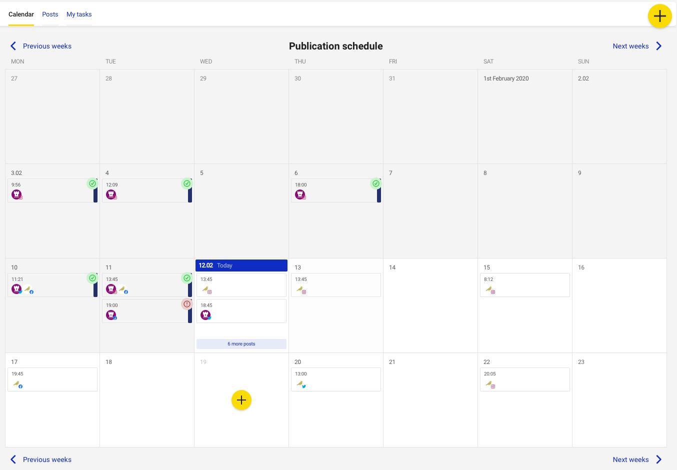 NapoleonCat Publisher calendar view
