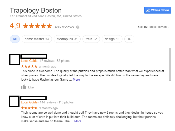 positive Google reviews