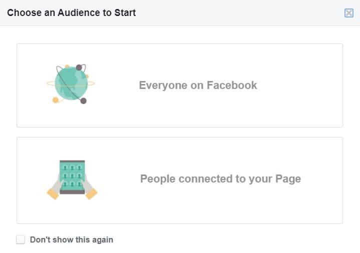choose audience Facebook