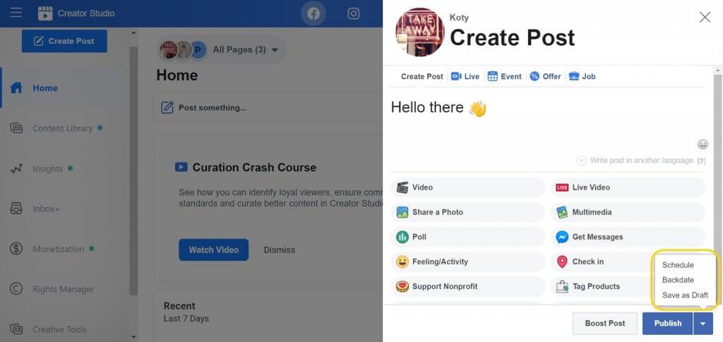 create a post in Creator studio