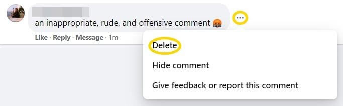 delete Facebook comments
