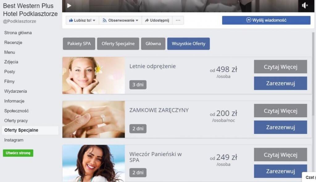 oferty specjalne na Facebooku - przykład wykorzystania w branży hotelarskiej
