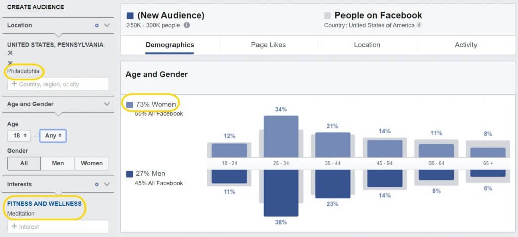 interests Facebook audience Insights