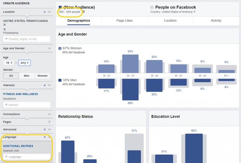 language Facebook audience