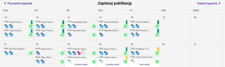 Planowanie postów na Linkedin - kalendarz