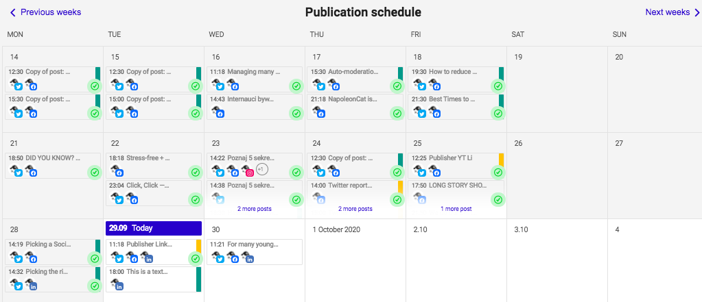 Schedule posts on LinkedIn - calendar view