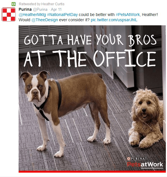 Purina pets at work