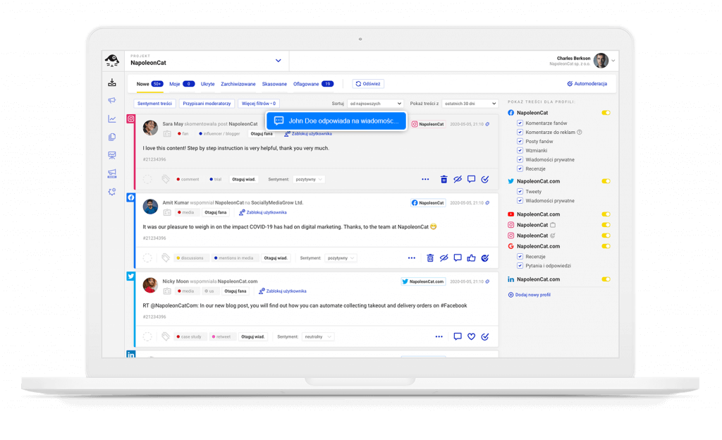 widok edycji w czasie rzeczywistym w Social Inbox