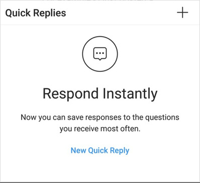 quick replies Instagram