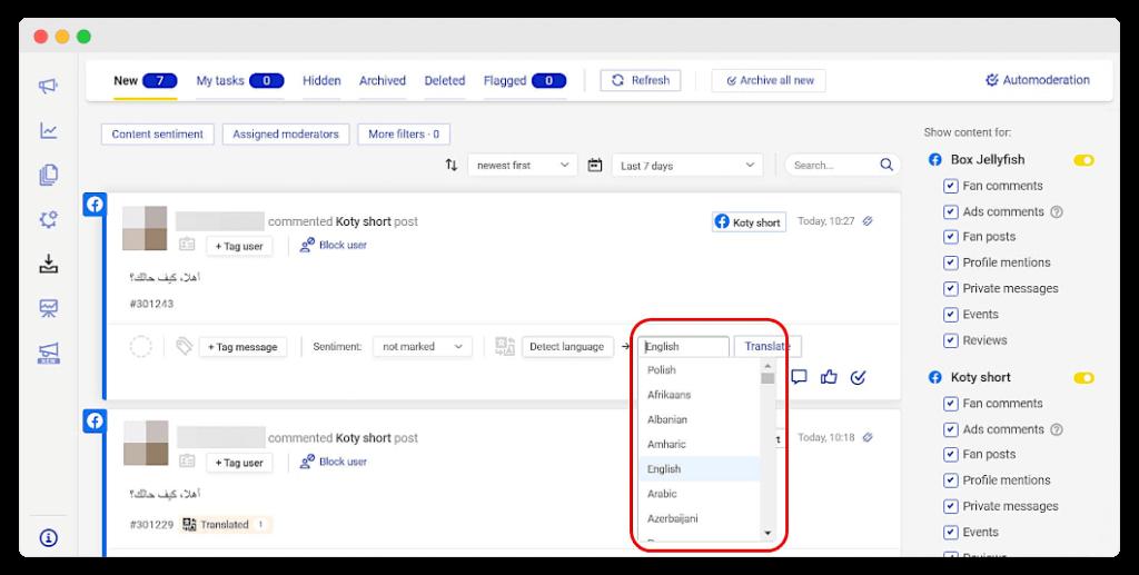 Translations in Social Inbox