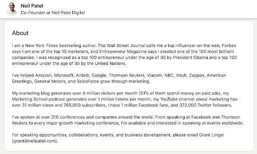 LinkedIn bio Neil Patel