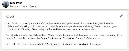 LinkedIn bio