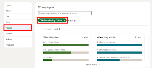 LinkedIn position search bar