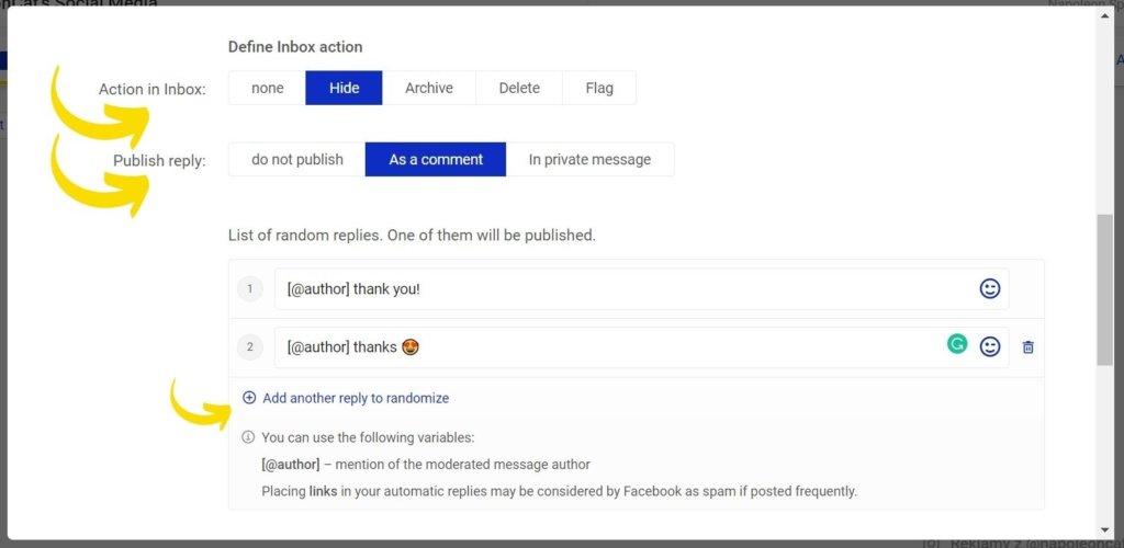 Facebook hide comment automation
