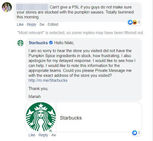 Imago technique in social customer service - hiding comments on Facebook