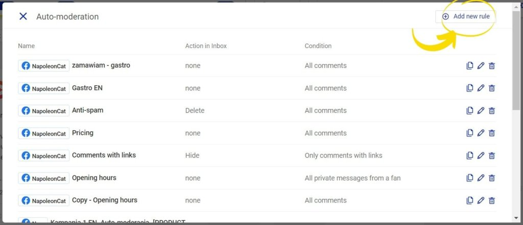 add new rule NapoleonCat - hiding comments on Facebook