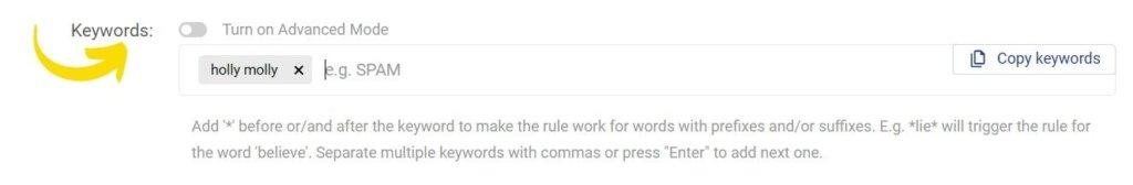 define keywords auto comment Facebook