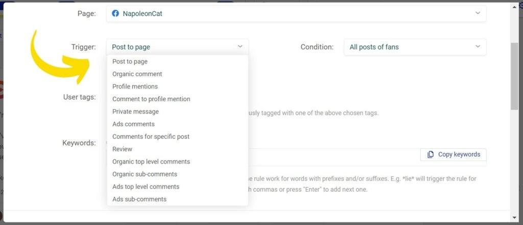 define trigger for hiding comments on Facebook automatically