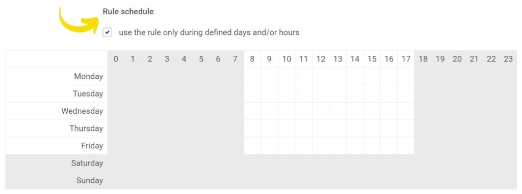 rule schedule hide Facebook comments automatically