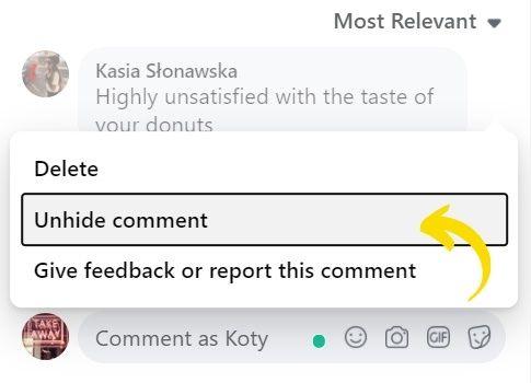 unhide comments on Facebook