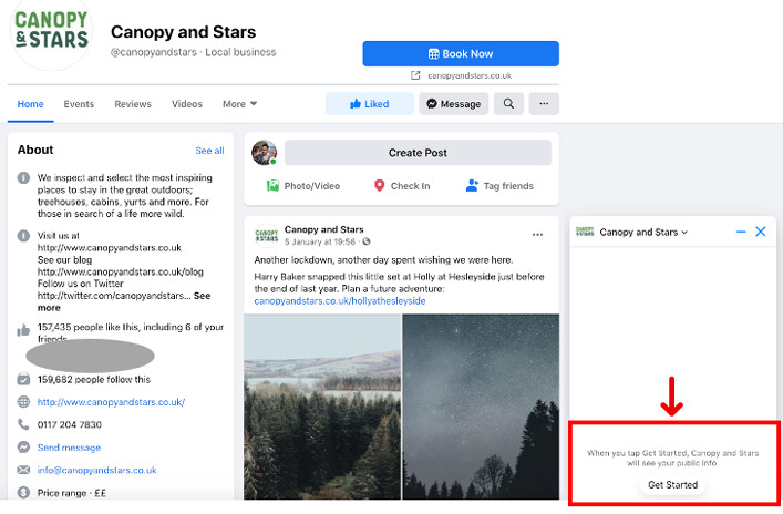 Canopy and Stars. Facebook Automated Responses: Get Started