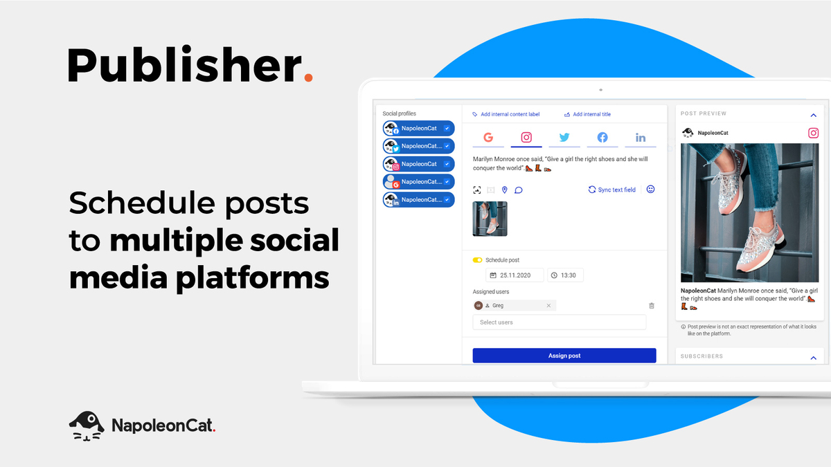 Schedule posts to multiple social media platforms