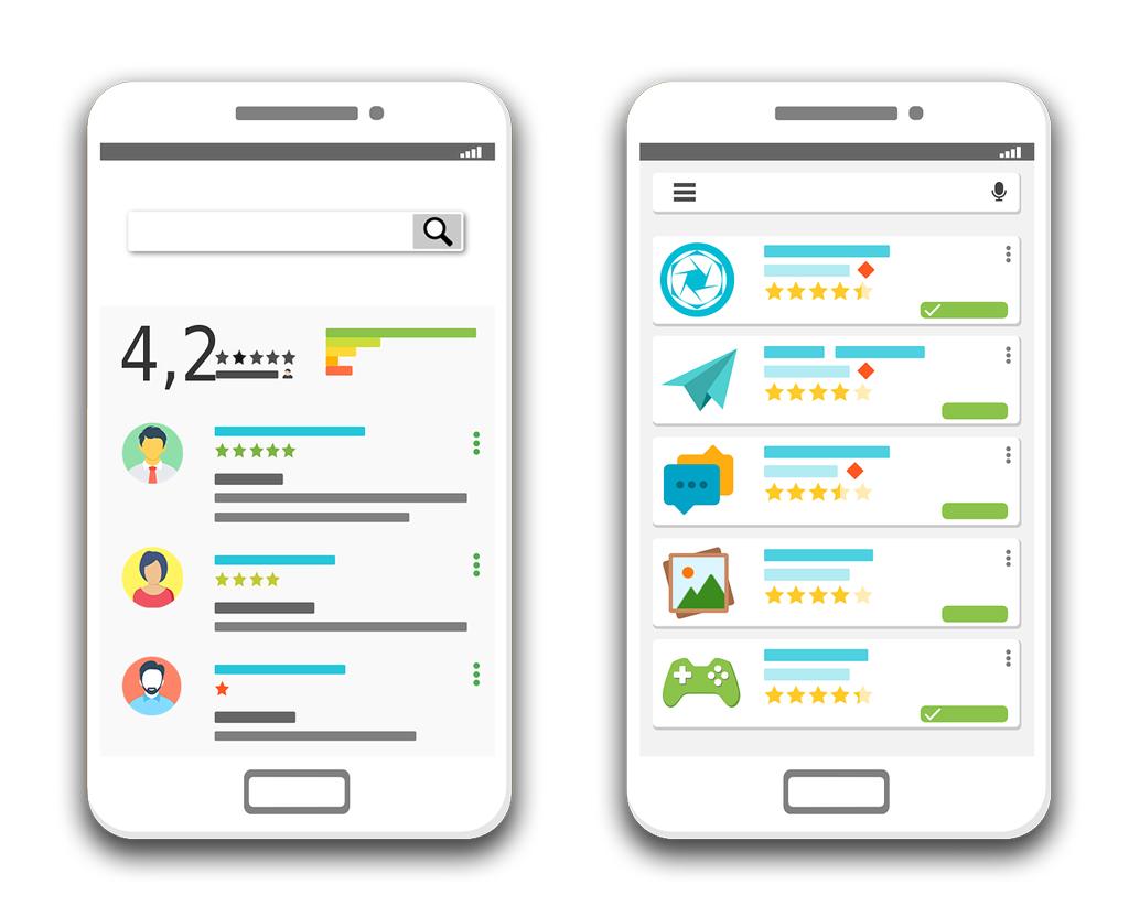アプリのレビュー、レーティング、ランキング付け