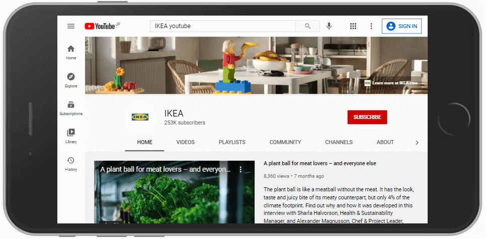 IKEAのyoutube画面