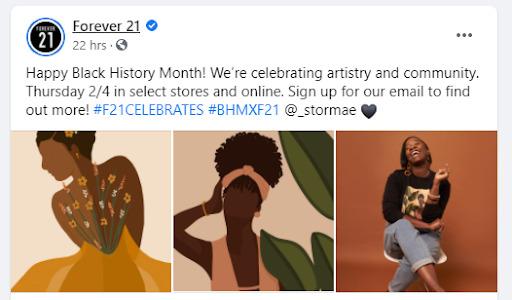 Forever 21 Black History Month post on Facebook