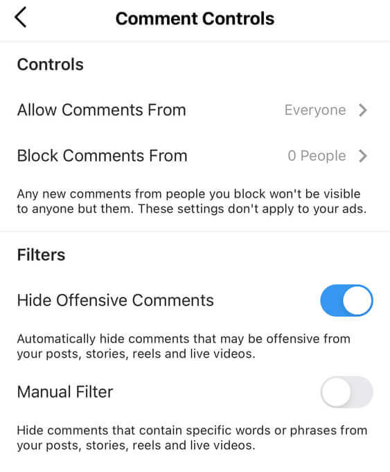 How to hide comments on Instagram - Comment controls