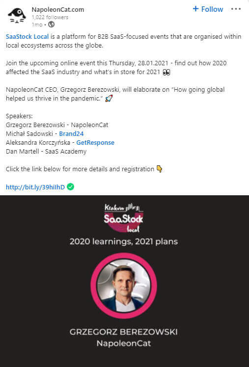 NapoleonCat's LinkedIn post promoting a local SaaS event