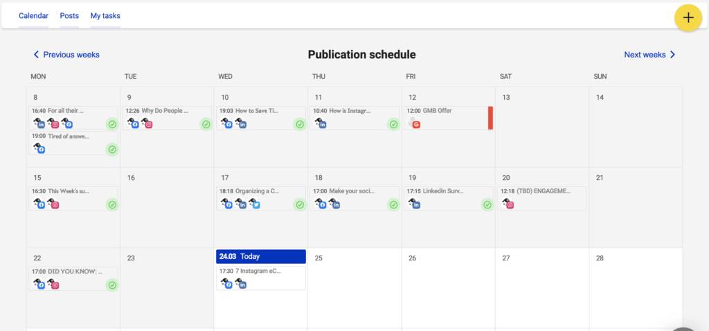 NapoleonCat's Publisher calendar view