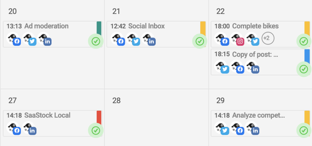 NapoleonCat's Social Media Publisher color coded labels in content calendar