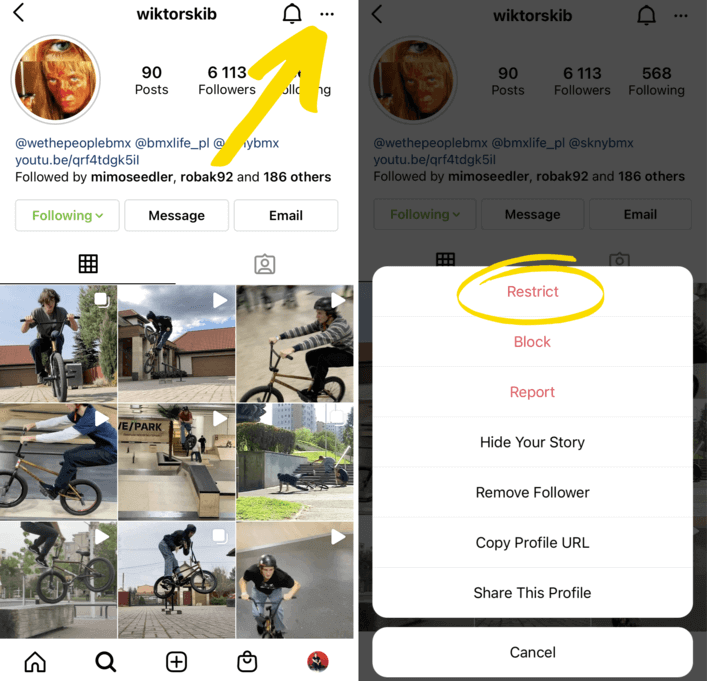 how to restrict someone on instagram