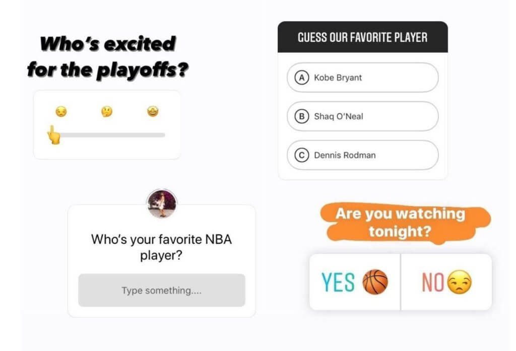 Instagram Stories features: polls, quizzes, questions, and slider.