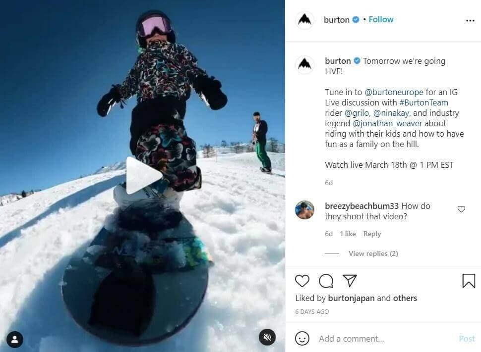 video post on Burton's Instagram