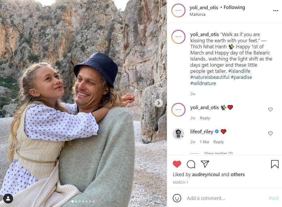 Instagram post representing family behind yoli and otis business