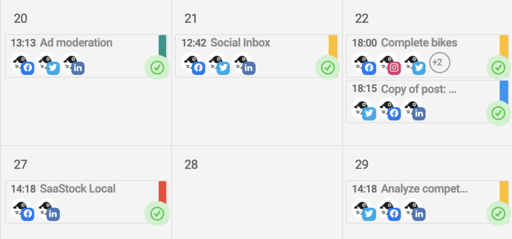 カレンダーにコンテンツのタイプ別にラベルで色分けする