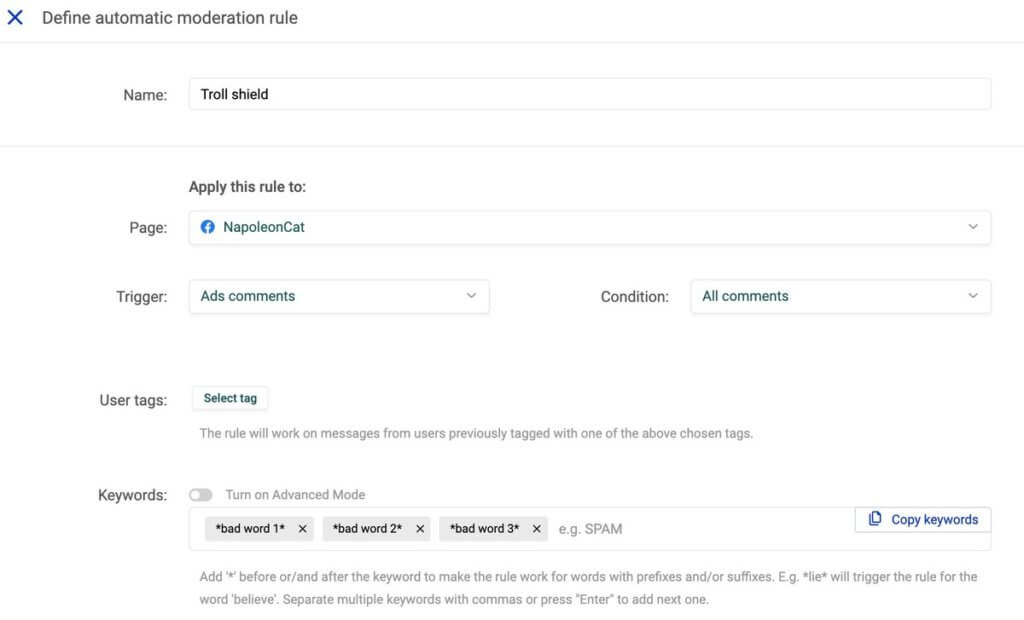 Automate comment moderation on Facebook Ads - Spam blocker