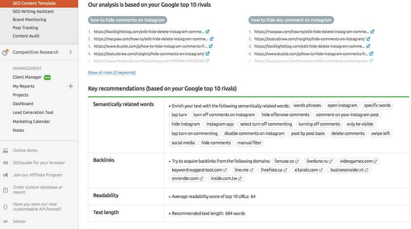 eCommerce marketing tools - semrush
