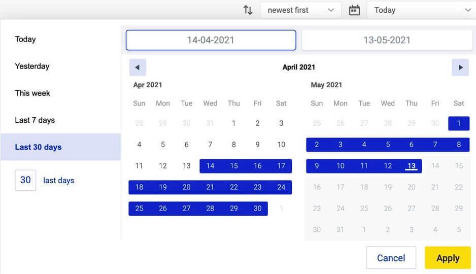 Social Inbox custom time range for tickets