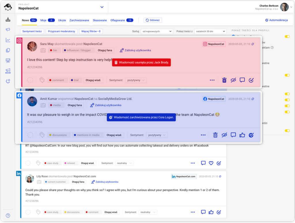 widok współpracy w czasie rzeczywistym w Social Inbox