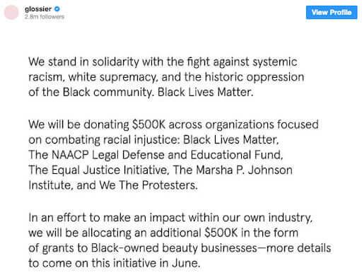 Glossier's statement regarding the Black Lives matter movement on social media