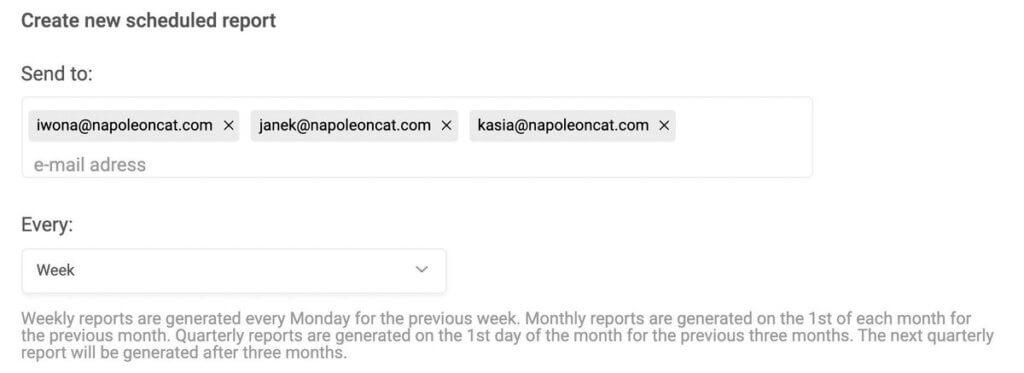 Facebook analytics report - schedule new report