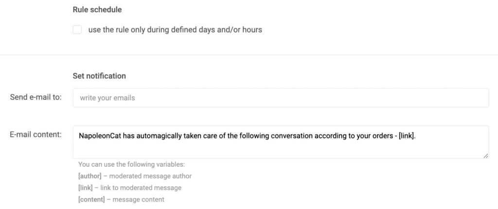 Facebook comments auro reply - rule schedule and email notifications