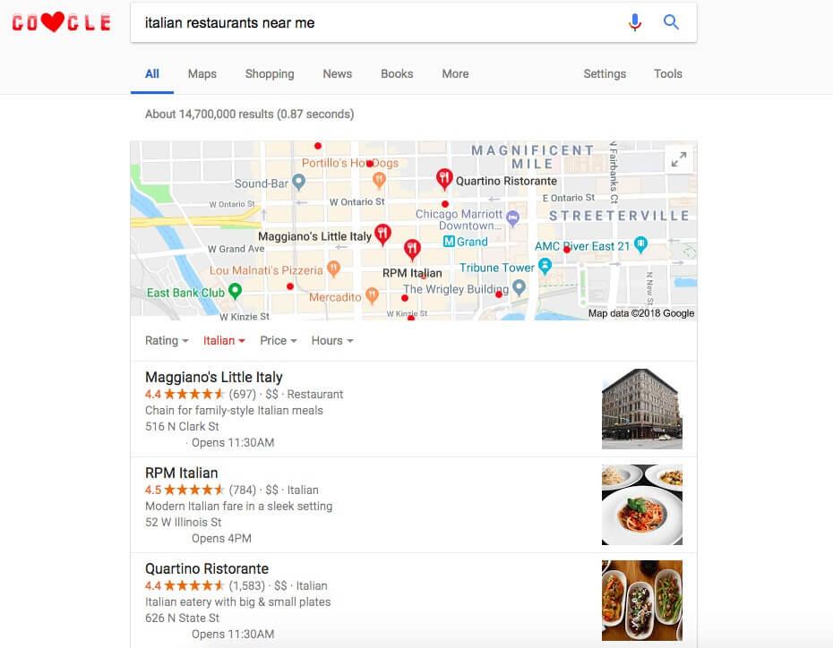 businesses near me Google feature
