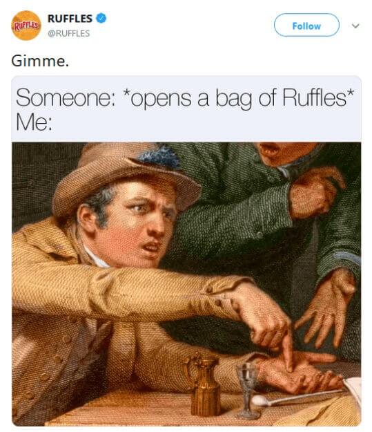 Ruffles' meme on social media