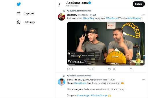 AppSumo's post on Twitter